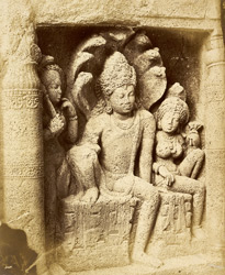 Carved figure of a Nagaraja in the Buddhist chaitya hall, Cave XIX, Ajanta